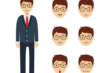 创意商务男子和6款表情头像矢量图