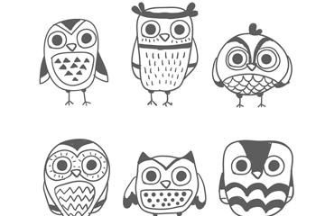 6款手绘猫头鹰矢量素材