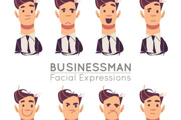 8款创意商务男子表情头像矢量图