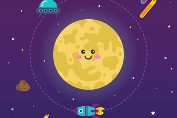 可爱笑脸月亮和火箭矢量素材