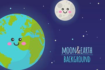 可爱笑脸地球和月亮矢量素材
