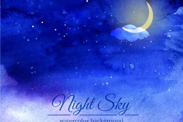 水彩绘夜晚月亮风景矢量素材
