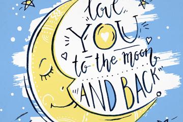 彩绘月亮爱的隽语矢量素材