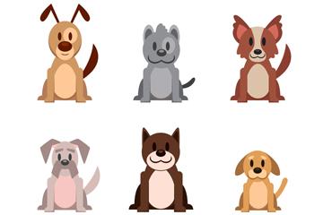 6款可爱宠物狗矢量素材