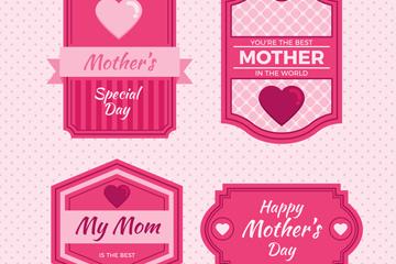 4款粉色母亲节快乐标签矢量图