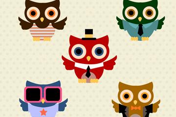 5款创意时尚猫头鹰矢量素材