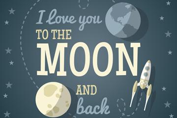 创意月球和火箭爱的隽语矢量图