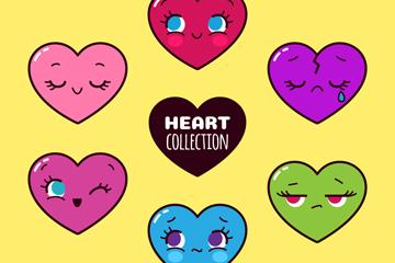 6款卡通彩色表情爱心矢量素材
