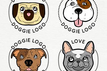 4款可爱狗头像标志矢量素材