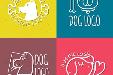 4款彩色精致宠物狗标志矢量素材