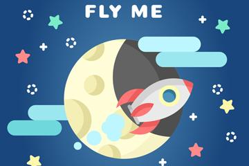 创意卡通月球和火箭矢量素材
