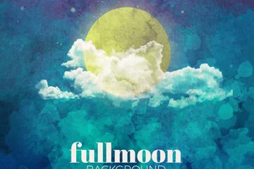 水彩绘云中的满月矢量素材