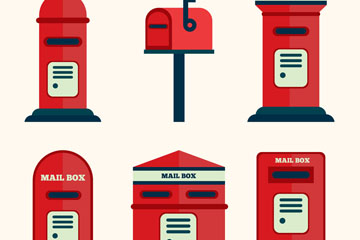 6款创意红色信箱矢量素材矢量图