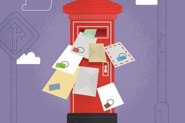 创意红色邮箱和信件矢量素材