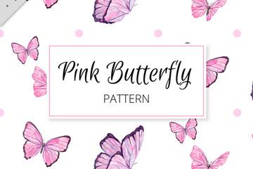 彩绘粉色蝴蝶无缝背景矢量素材