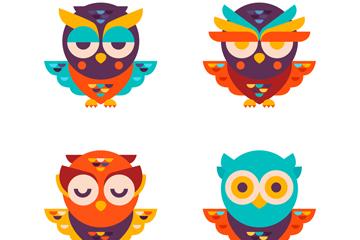 4款时尚彩色猫头鹰设计矢量图
