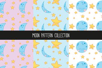 3款手绘彩色月亮星星无缝背景最新网络赌博网站