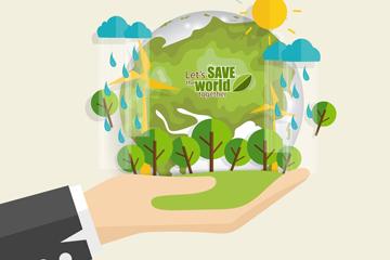 创意托举地球的手臂矢量素材