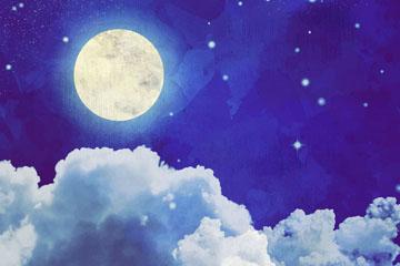 水彩绘蓝色夜空云层上的明月矢量