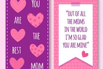 紫色爱心母亲节祝福卡矢量素材