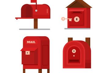 4款红色邮筒设计矢量素材