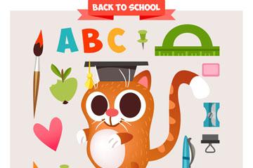 可爱返校猫咪和16款学习元素矢量