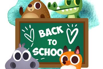 4个可爱返校动物和黑板矢量图