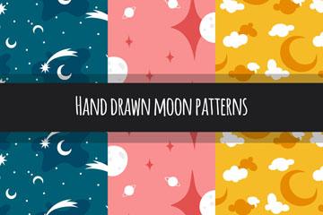 3款抽象手绘月亮无缝背景矢量图