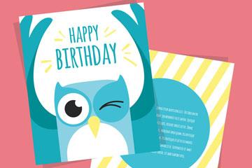 蓝色猫头鹰生日祝福卡乐虎国际线上娱乐乐虎国际