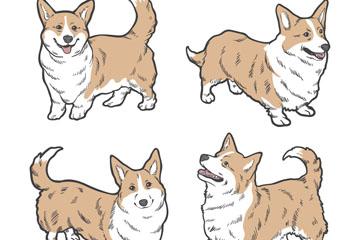 4款手绘可爱狗矢量素材
