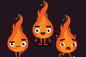 3款卡通可爱表情火焰矢量素材