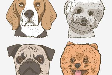 4款彩绘宠物狗头像矢量梦之城娱乐