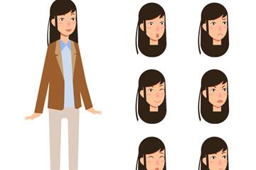 创意长发女子和6款表情头像矢量