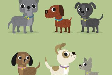 6款卡通大眼睛宠物狗矢量素材