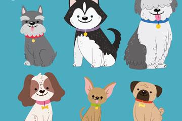 6款可爱宠物犬设计矢量素材