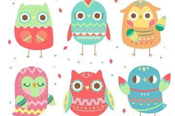 6款可爱花纹猫头鹰矢量素材