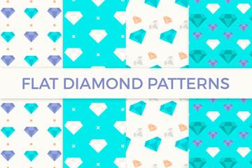 4款蓝色扁平化钻石无缝背景矢量图