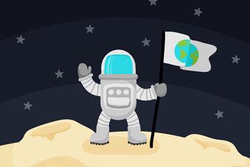 卡通登陆月球的男子矢量素材