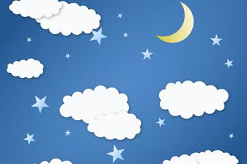 白色云朵和月亮矢量素材