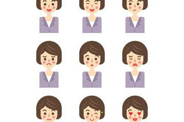 9款短发商务女子表情头像矢量图