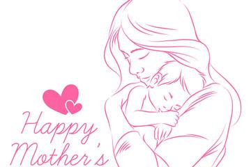 彩绘怀抱婴儿的母亲矢量素材