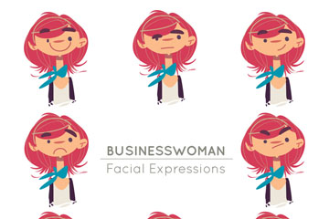 8款彩绘红发商务女子头像矢量图