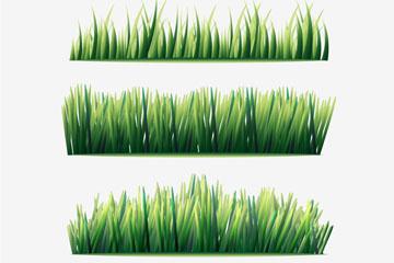 4款水彩绘草丛矢量素材