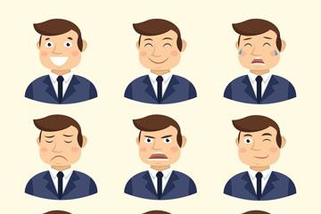 9款创意商务男子表情矢量素材