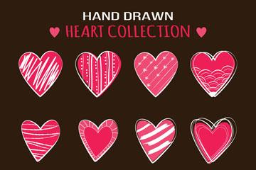 12款手绘粉色花纹爱心矢量素材