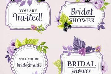 4款紫色水彩绘新娘送礼会标签矢