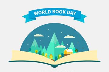 创意世界图书日打开的书本世界矢量图