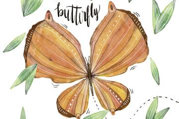 水彩绘橙色蝴蝶设计矢量图