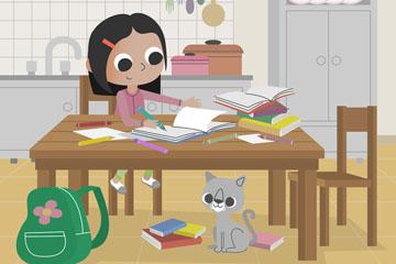 卡通做作业的女孩和猫咪矢量素材