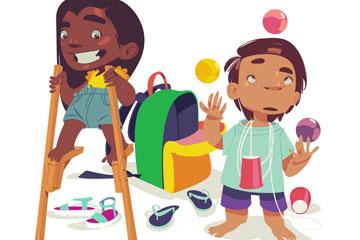 彩绘玩耍的2个儿童矢量素材